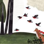 An illustration of a fox watching a flock of birds