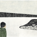 An illustration of a figure looking out across a snow-covered plain