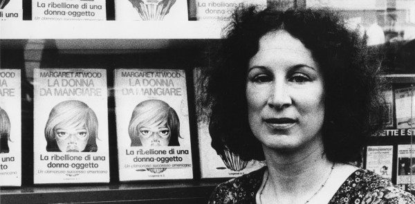 A black and white photo of a young Margaret Atwood