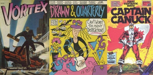 Three comic covers: Vortex, Drawn & Quarterly, and Captain Canuck