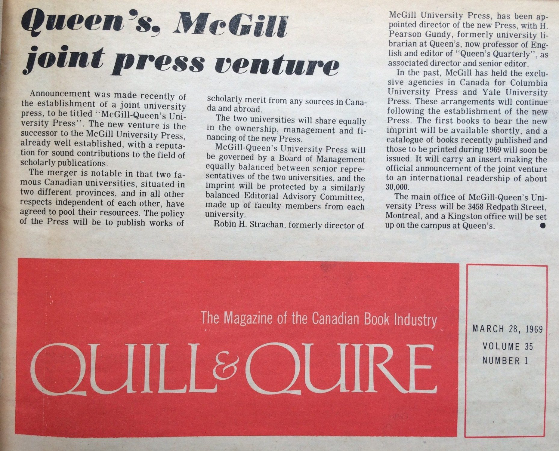 Backlist: 47 years ago in Quill & Quire | Quill and Quire