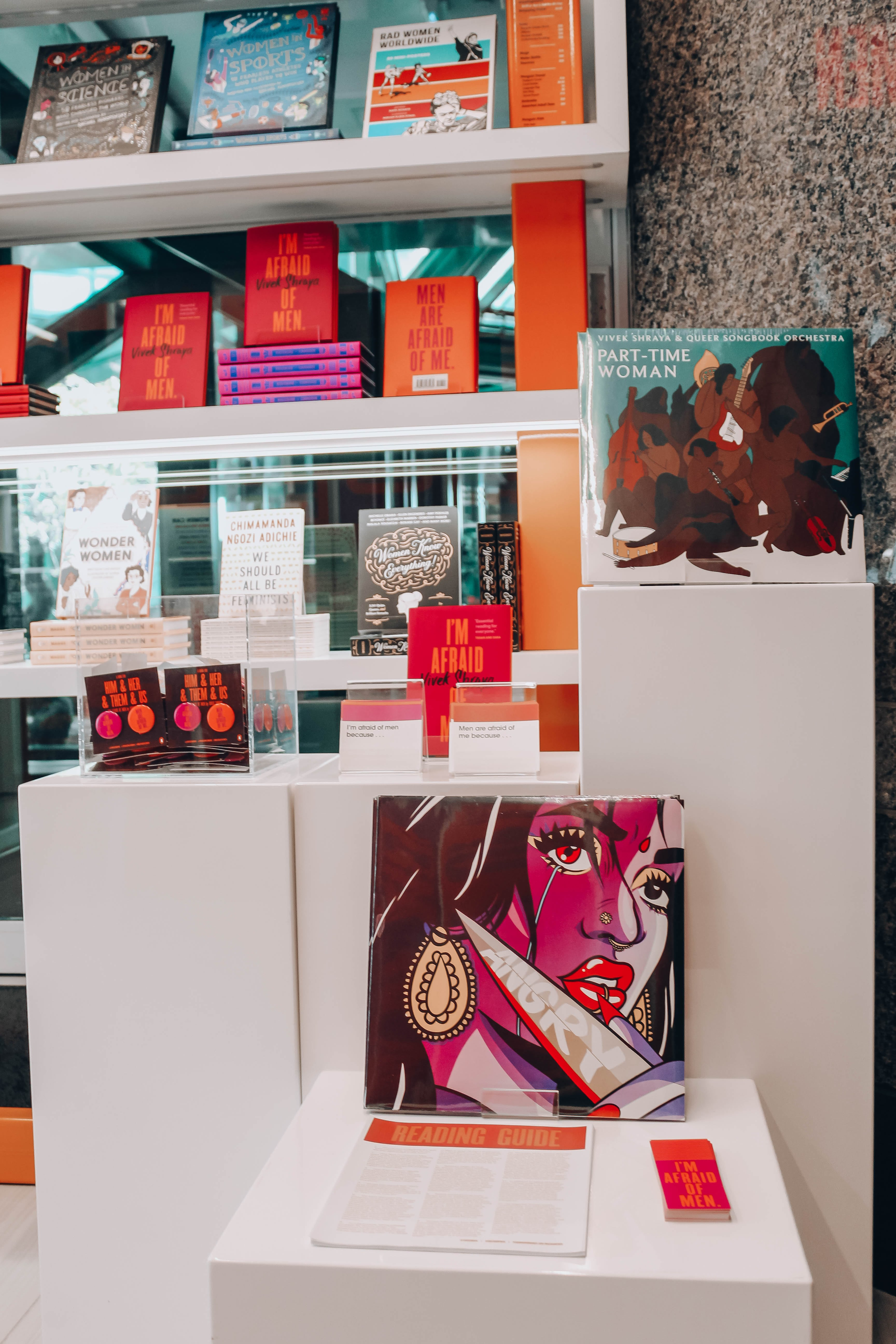 A display of books and records by Vivek Shraya at the Penguin Shop