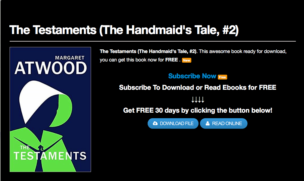Pirated copies of Margaret Atwood's The Testaments hosted