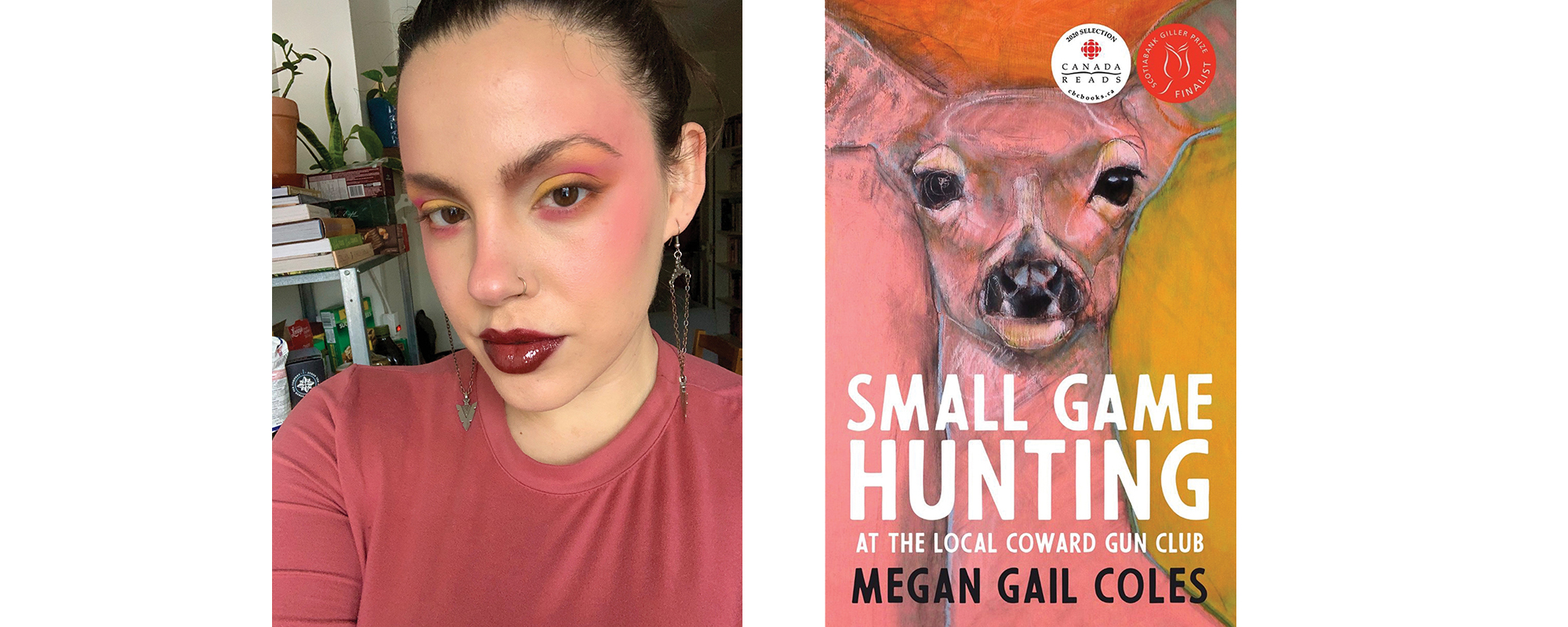 Domenica Martinello does a makeup look inspired by the cover for Megan Gail Coles's Small Game Hunting