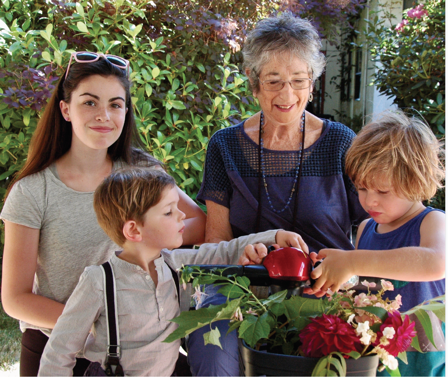 Bonnie Sherr Klein and her grandchildren