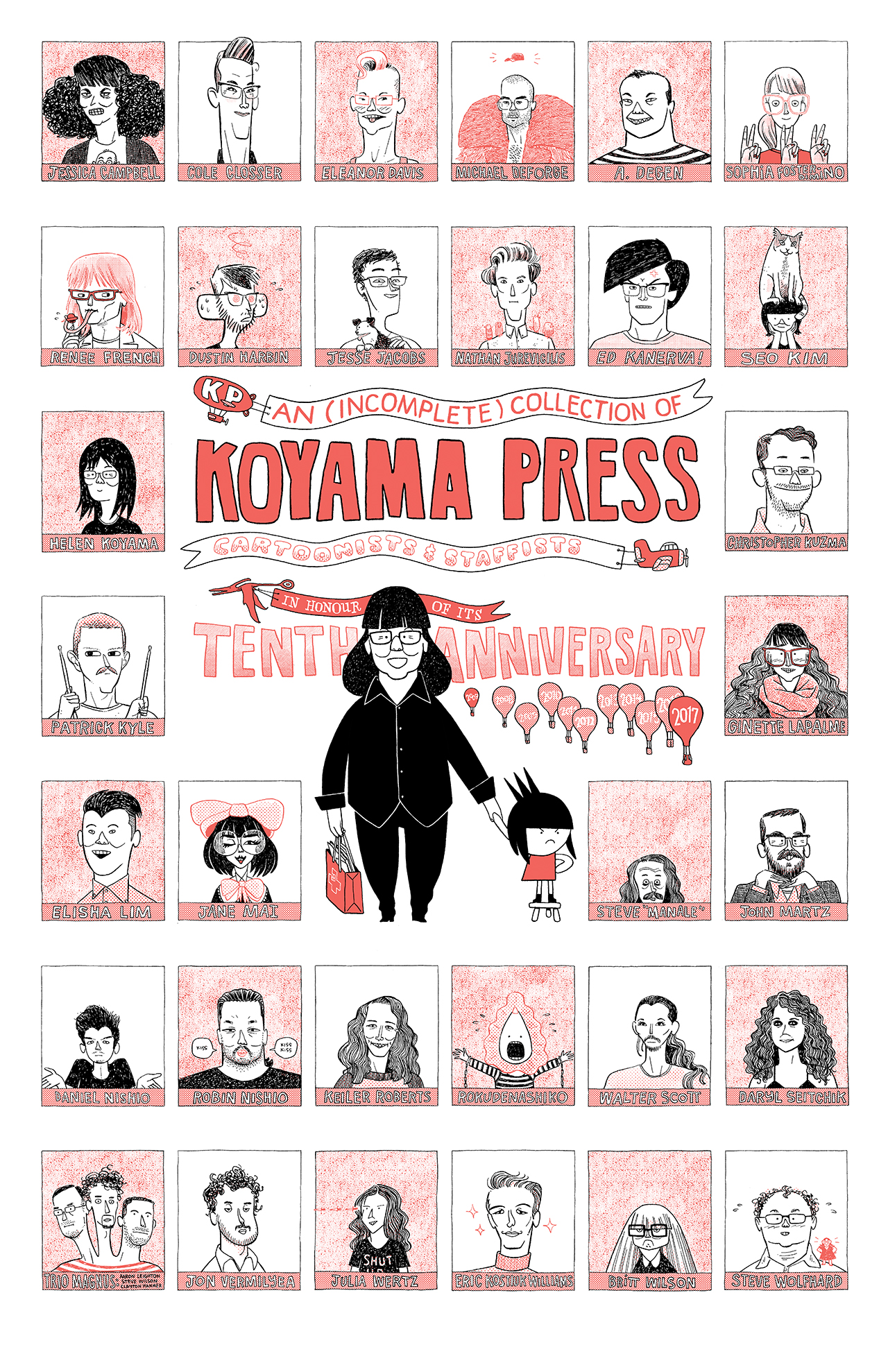 Illustrations of Koyama Press artists and contributors with Annie Koyama holding hands with Kickass Annie at the centre