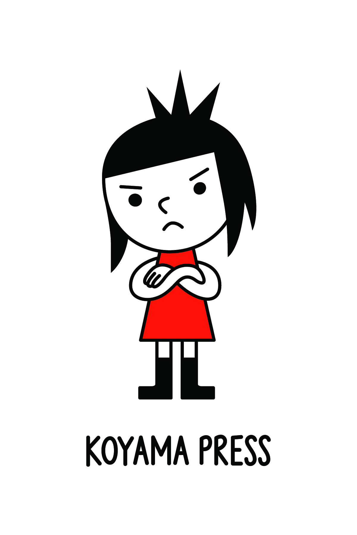Illustration of grumpy girl in a red dress above the logo for Koyama Press