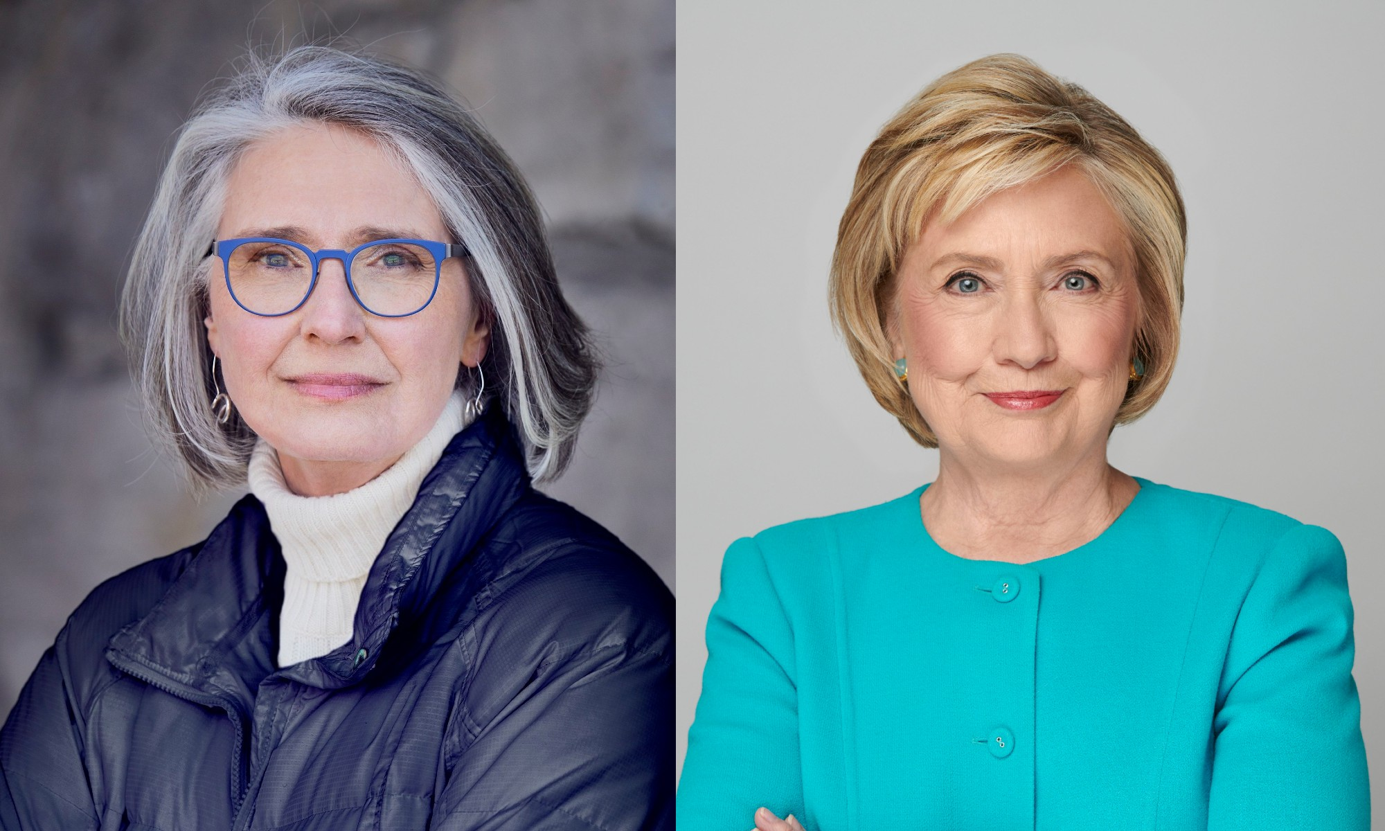 Headshots of Louise Penny and Hillary Clinton