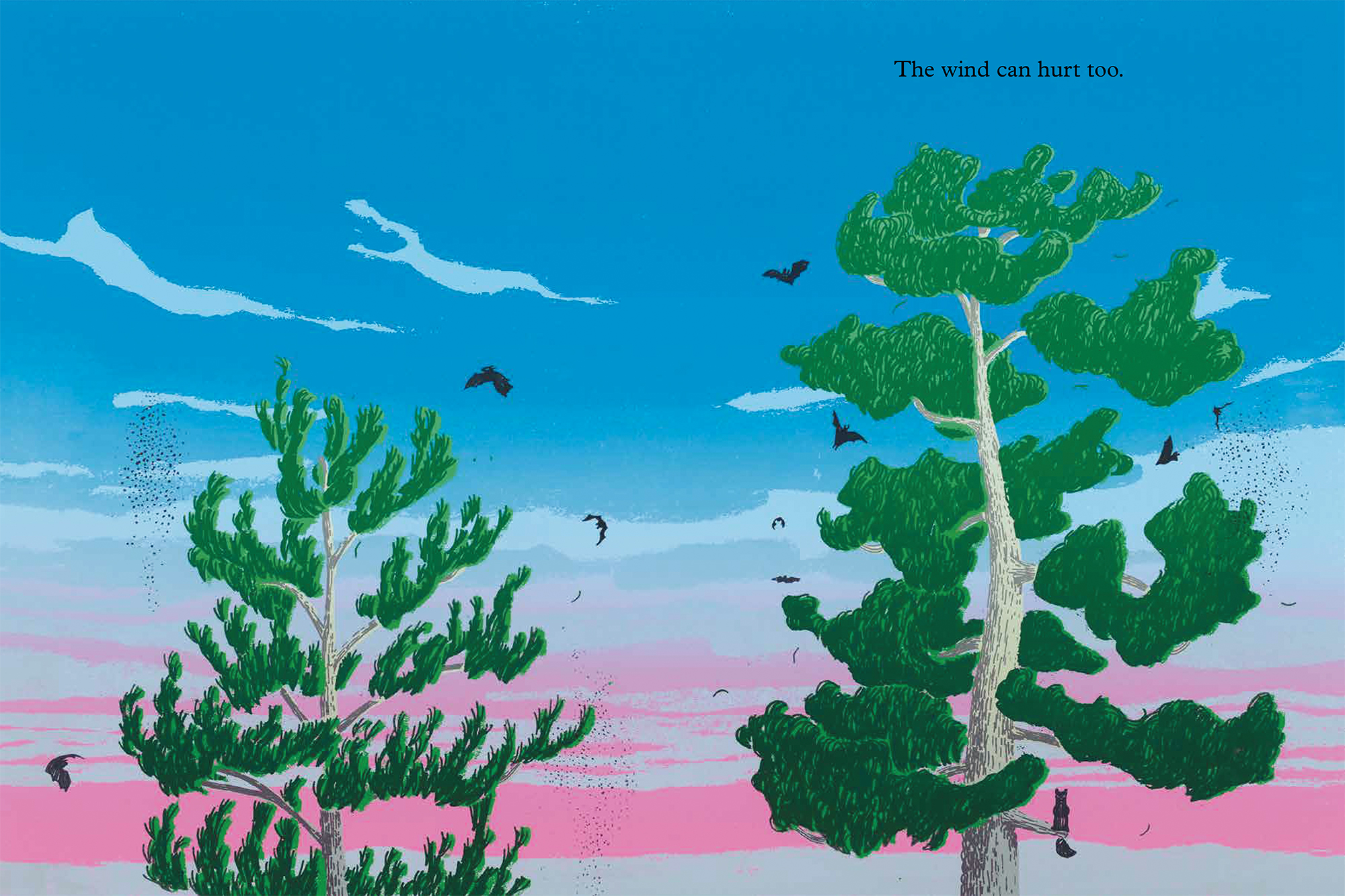 Illustration of two trees from The Wind and the Trees
