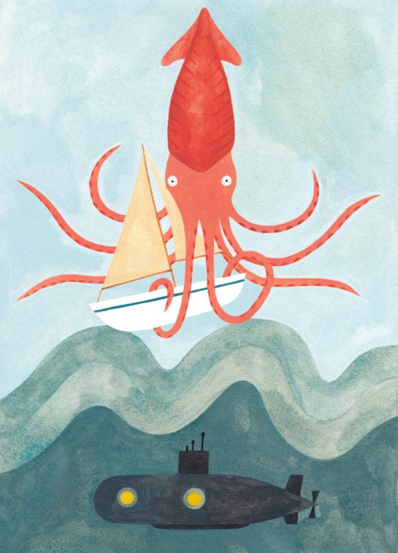 Illustration of a giant squid with a tentacle wrapped around a boat and a submarine in the ocean below from the interior of Dave Paddon's Kimmy & Mike