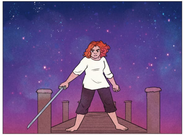 Illustration of a pirate holding a sword standing on a dock from the interior of Sam Maggs and Kendra Wells's Tell No Tales