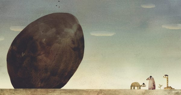 Illustration of a rock on the ground near three animals from the interior of Jon Klassen's The Rock From the Sky