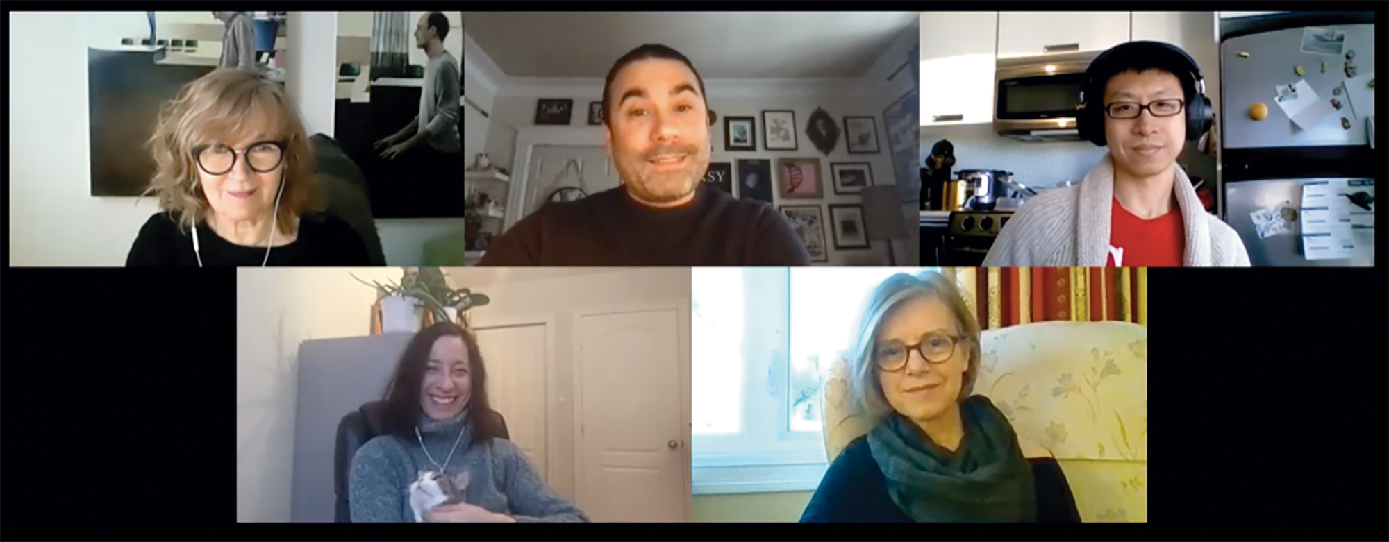 A composite image of five authors on a Zoom call