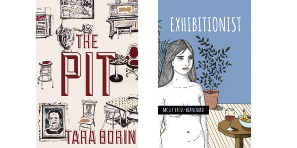 The cover of Tara Borin's The Pit and the cover of Molly Cross Blanchard's Exhibitionist