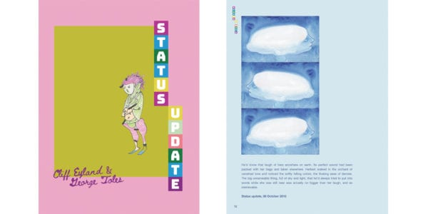 The cover and an interior illustration of George Toles and Cliff Eyland's Status Update