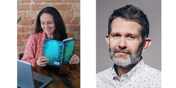 Photos of two authors appearing at the Forest of Reading Festival