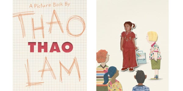 The cover of Thao Lam's book Thao beside an illustration from the interior