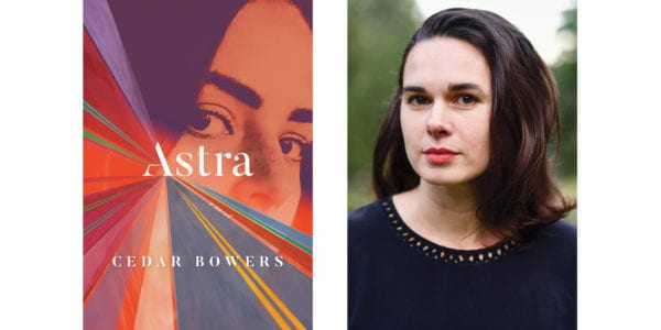 The cover of Cedar Bowers's Astra with a photo of the author