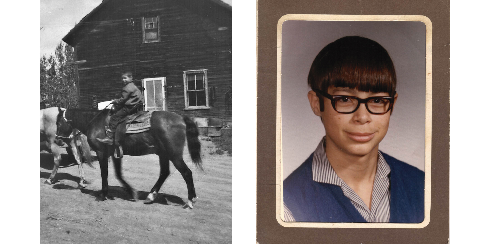 Brad Fraser as a child riding a horse and in a grade school portrait