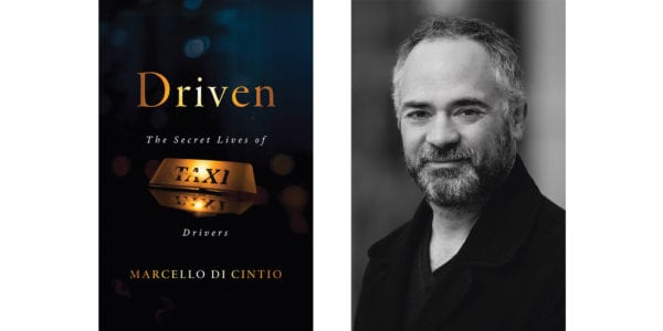 The cover of Marcello Di Cintio's Driven: The Secret Lives of Taxi Drivers with a photo of the author