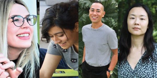Four photos showing Emily Austin, Aminder Dhaliwal, Eddy Boudel Tan, and Pik-Shuen Fung
