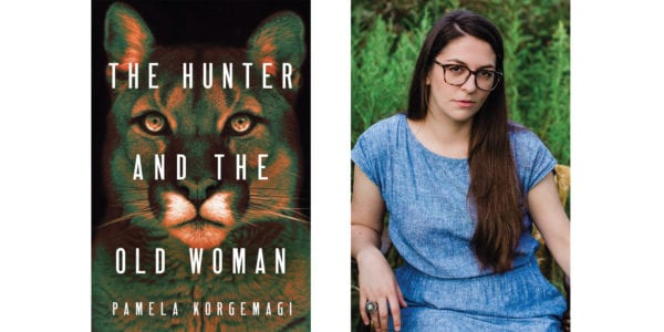 The cover of Pamela Korgemagi's The Hunter and the Old Woman with a photo of the author