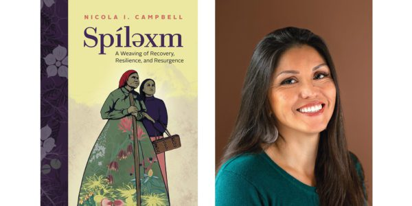The cover of Nicola I. Campbell's Spilexam with a photo of the author