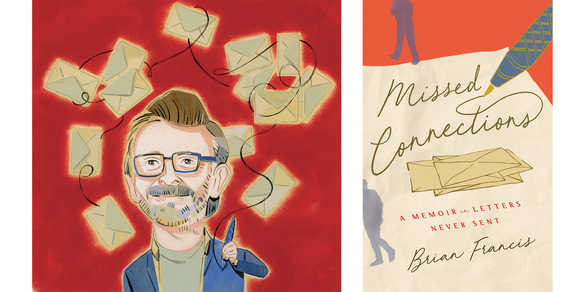 The cover of Brian Francis's Missed Connections with an illustration of the author