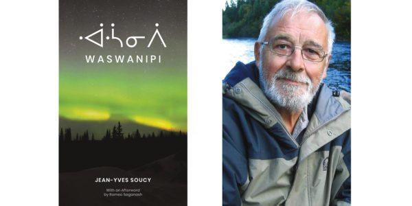 The cover of Jean-Yves Soucy's Waswanipi with a photo of the author