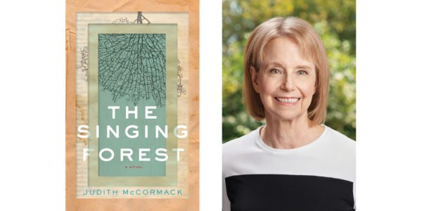 The cover of Judith McCormack's The Singing Forest with a photo of the author