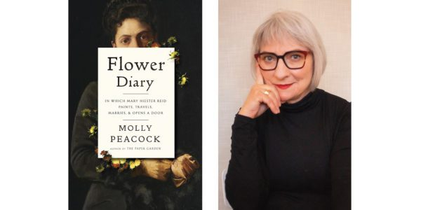 The cover of Molly Peacock's Flower Diary with a photo of the author