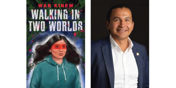 The cover of Wab Kinew's Walking in Two Worlds with a photo of the author